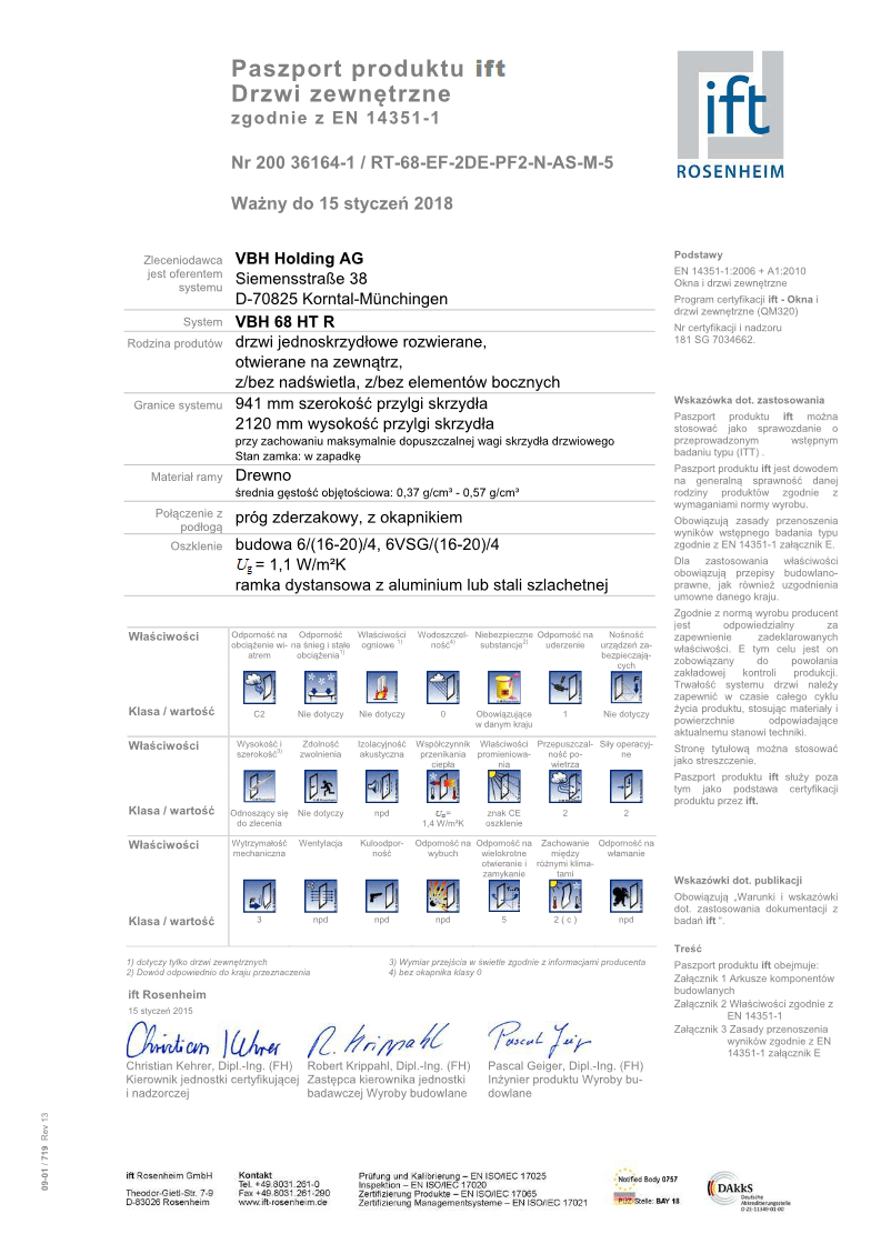 Certyfikat na drzwi (ift Rosenheim)